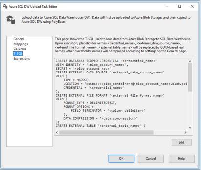 Azure DW Upload Task